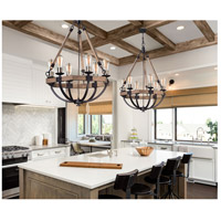 Lodge 6 Light 29 inch Weathered Oak and Bronze Chandelier Ceiling Light