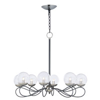 Maxim 20465BGTXBPN/BUL Reverb LED 31 inch Textured Black/Polished Nickel Chandelier Ceiling Light in With Bulb Bubble Glass