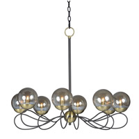 Maxim 20465TBGTBZSBR Reverb 8 Light 31 inch Textured Bronze/Satin Brass Chandelier Ceiling Light in Without Bulb Xenon Topaz Bubble