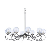Maxim 20467BGTXBPN Reverb 10 Light 38 inch Textured Black/Polished Nickel Chandelier Ceiling Light in Without Bulb Xenon Bubble Glass