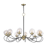 Maxim 20467TBGTBZSBR Reverb 10 Light 38 inch Textured Bronze/Satin Brass Chandelier Ceiling Light in Without Bulb Xenon Topaz Bubble