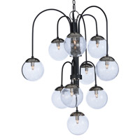 Maxim 20469BGTXBPN/BUX Reverb 10 Light 30 inch Textured Black/Polished Nickel Chandelier Ceiling Light