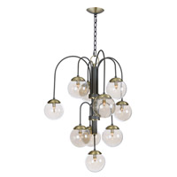 Maxim 20469TBGTBZSBR Reverb 10 Light 30 inch Textured Bronze/Satin Brass Chandelier Ceiling Light