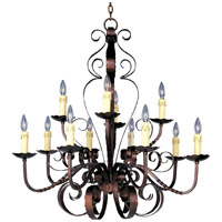 Aspen 12 Light 36 inch Oil Rubbed Bronze Multi-Tier Chandelier Ceiling Light