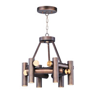 Tubular LED 20 inch Bronze Fusion/Antique Brass Chandelier Ceiling Light
