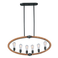 Bodega Bay 6 Light 36 inch Anthracite Linear Pendant Ceiling Light in Without Bulb