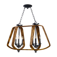 Road House 6 Light 36 inch Barn Wood and Iron Ore Linear Pendant Ceiling Light