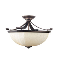 Maxim Lighting Oak Harbor 2 Light Semi Flush Mount in Rustic Burnished 21076FLRB