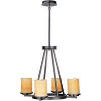 Maxim 21144SCRE Luminous 4 Light 24 inch Rustic Ebony Single Tier Chandelier Ceiling Light