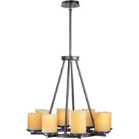 Luminous 8 Light 29 inch Rustic Ebony Single Tier Chandelier Ceiling Light