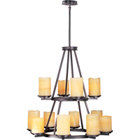 Luminous 12 Light 32 inch Rustic Ebony Multi-Tier Chandelier Ceiling Light