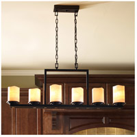 Luminous 6 Light 5 inch Rustic Ebony Single Tier Chandelier Ceiling Light