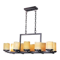 Luminous 10 Light 17 inch Rustic Ebony Single Tier Chandelier Ceiling Light