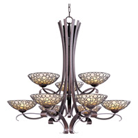 Maxim Lighting Meridian 9 Light Multi-Tier Chandelier in Umber Bronze 21346DWUB