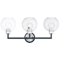 Maxim 21613CLBKAL Vessel 3 Light Black and Brushed Aluminum Wall Sconce Wall Light