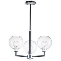 Maxim 21614CLBKAL Vessel 3 Light 24 inch Black and Brushed Aluminum Chandelier Ceiling Light