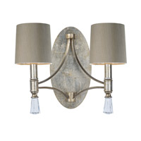Regal 2 Light 17 inch Silver Gold Wall Sconce Wall Light in With Shade