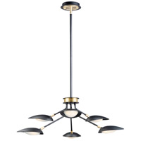 Maxim 21696BKSBR Scan LED 35 inch Black and Satin Brass Multi-Light Pendant Ceiling Light