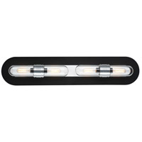 Dual 4 Light 29 inch Black and Brushed Aluminum Bath Vanity Wall Light