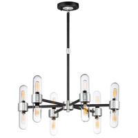 Dual 12 Light 26 inch Black and Brushed Aluminum Outdoor Chandelier
