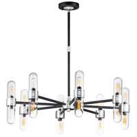 Dual 16 Light 34 inch Black and Brushed Aluminum Outdoor Chandelier