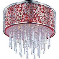 Rapture 5 Light 16 inch Satin Nickel Semi Flush Mount Ceiling Light in Red