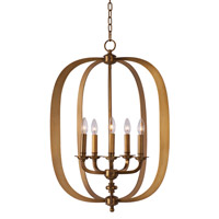 Fairmont 5 Light 22 inch Natural Aged Brass Pendant Ceiling Light