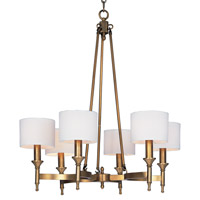 Maxim 22375OMNAB Fairmont 6 Light 30 inch Natural Aged Brass Single Tier Chandelier Ceiling Light