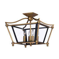 Ritz 4 Light 23 inch Natural Aged Brass Semi Flush Mount Ceiling Light