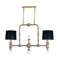 Saloon 2 Light 42 inch Weathered Brass Linear Pendant Ceiling Light