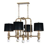 Saloon 4 Light 42 inch Weathered Brass Chandelier Ceiling Light