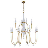 Claymore 12 Light 40 inch Claystone and Gold Leaf Chandelier Ceiling Light