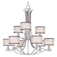 Orion 9 Light 35 inch Satin Nickel Multi-Tier Chandelier Ceiling Light