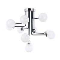 Atom 10 Light 38 inch Black and Polished Nickel Flush Mount Ceiling Light