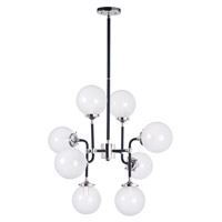 Atom 8 Light 28 inch Black and Polished Nickel Multi-Light Pendant Ceiling Light