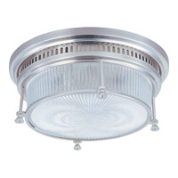 Hi-Bay 2 Light 13 inch Satin Nickel Flush Mount Ceiling Light