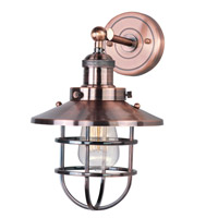Mini Hi-Bay 1 Light 8 inch Antique Copper Wall Sconce Wall Light in Without Bulb