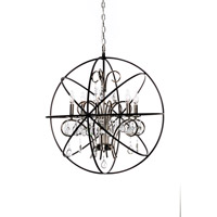 Orbit 6 Light 25 inch Anthracite and Polished Nickel Single-Tier Chandelier Ceiling Light