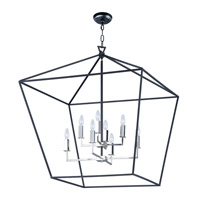 Abode 8 Light 33 inch Textured Black/Polished Nickel Multi-Tier Chandelier Ceiling Light
