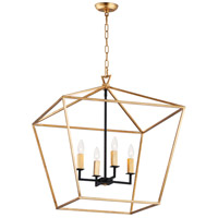 Abode 4 Light 25 inch Gold Leaf and Textured Black Chandelier Ceiling Light