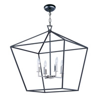 Abode 4 Light 25 inch Textured Black/Polished Nickel Single-Tier Chandelier Ceiling Light