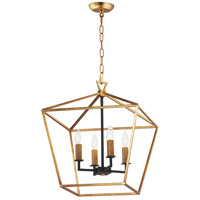 Abode 4 Light 18 inch Gold Leaf and Textured Black Chandelier Ceiling Light