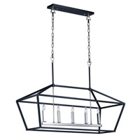 Abode 5 Light 19 inch Textured Black and Polished Nickel Single-Tier Chandelier Ceiling Light
