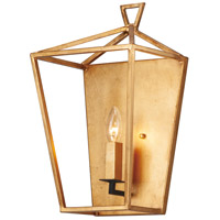 Abode 1 Light Gold Leaf and Textured Black Wall Sconce Wall Light