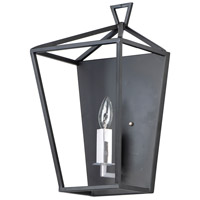 Abode 1 Light Textured Black and Polished Nickel Wall Sconce Wall Light