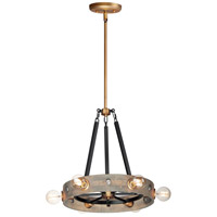 Maxim 25245WWDAB Plank 6 Light 20 inch Weathered Wood and Antique Brass Pendant Ceiling Light