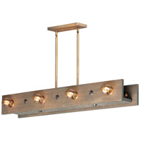 Maxim 25247WWDAB Plank 8 Light 44 inch Weathered Wood and Antique Brass Linear Pendant Ceiling Light