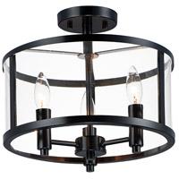 Maxim 25250CLBK Sentinel 3 Light 13 inch Black Semi-Flush Mount Ceiling Light