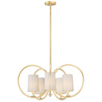 Maxim 25295OFNAB Meridian 5 Light 31 inch Natural Aged Brass Chandelier Ceiling Light