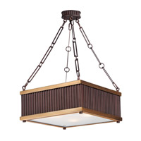 Ruffle 3 Light 13 inch Oil Rubbed Bronze and Burnished Brass Single Pendant Ceiling Light